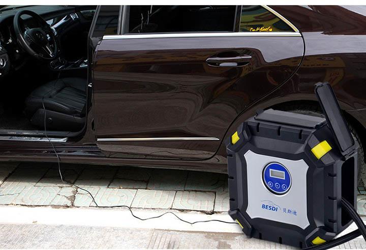 Máy nén khí bơm hơi mini 12v V6 đồng hồ điện tử