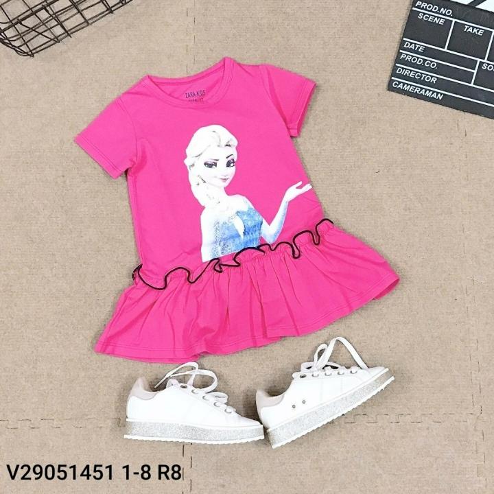 Váy trẻ em Cotton Elsa màu hồng V20061 size 1-8 tuổi