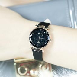 Đồng hồ nữ DOUKOU dây da mềm mặt kính vát 3D ánh kim sa lấp lánh size 32mm DK3422