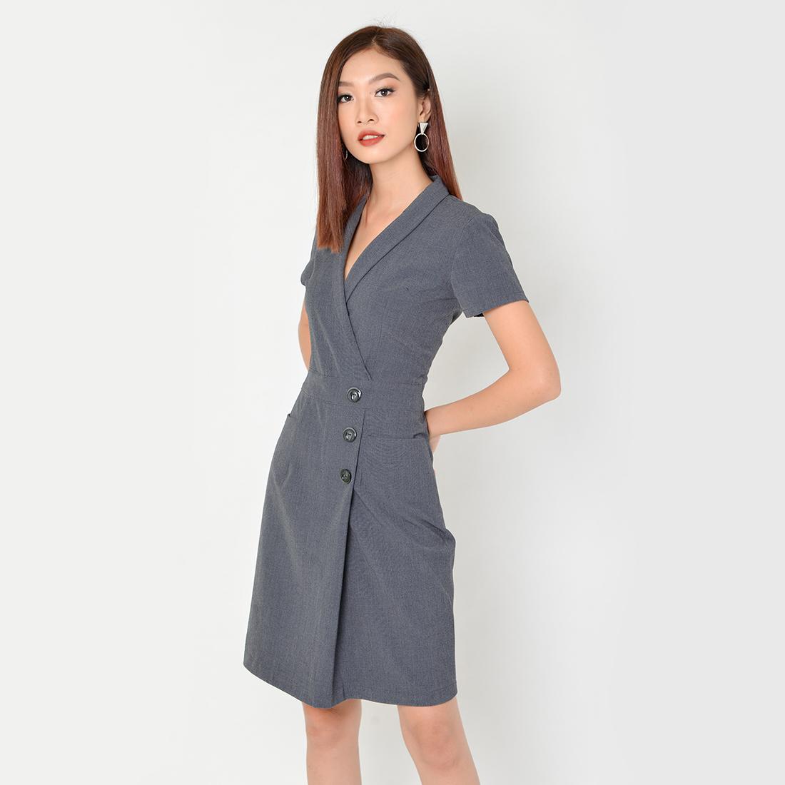 Đầm Công Sở Thời Trang Eden Cổ Vest Tay Ngắn - D323 - Màu xám