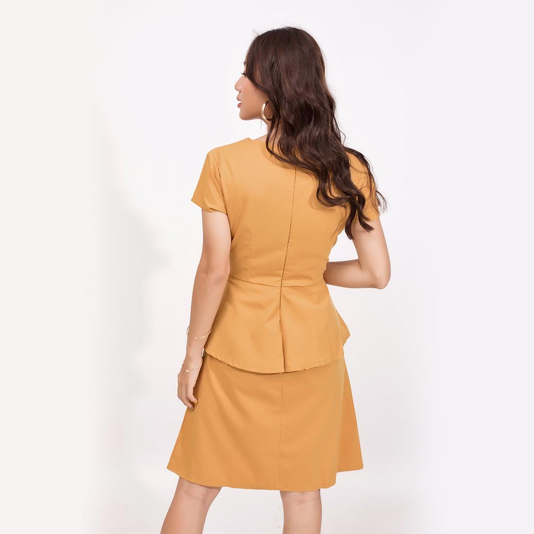 Đầm Peplum Công Sở Thời Trang Eden Cổ Tim - D371 - Màu vàng