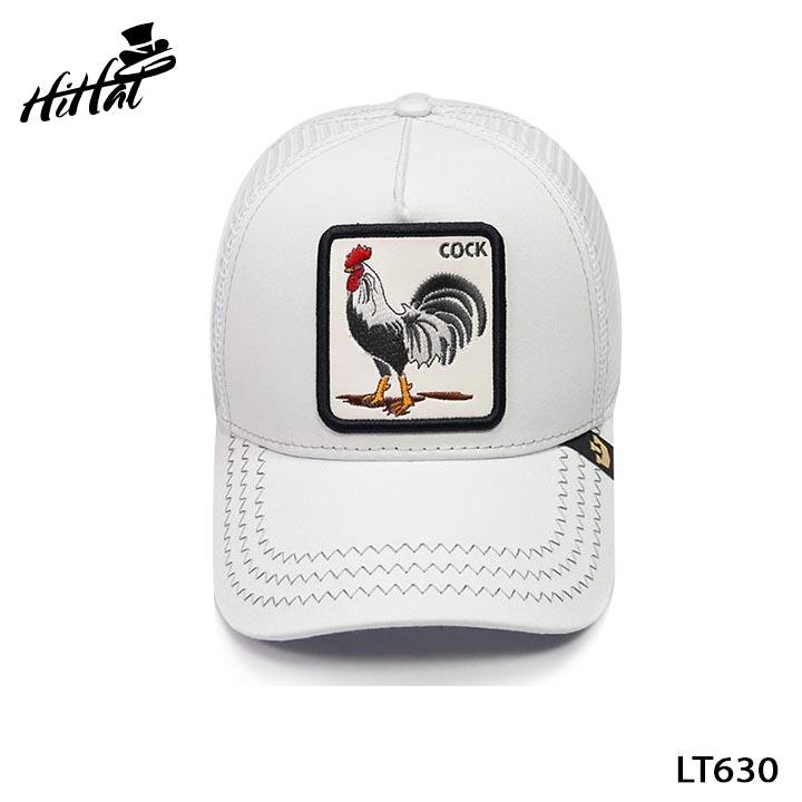 Mũ lưỡi trai lưới thể thao thêu hình các con vật đáng yêu - gà trắng LT630t