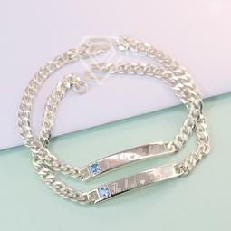 Vòng tay đôi bạc, vòng tay cặp bạc đẹp đính đá khắc tên theo yêu cầu LTD0004 - Trang Sức TNJ