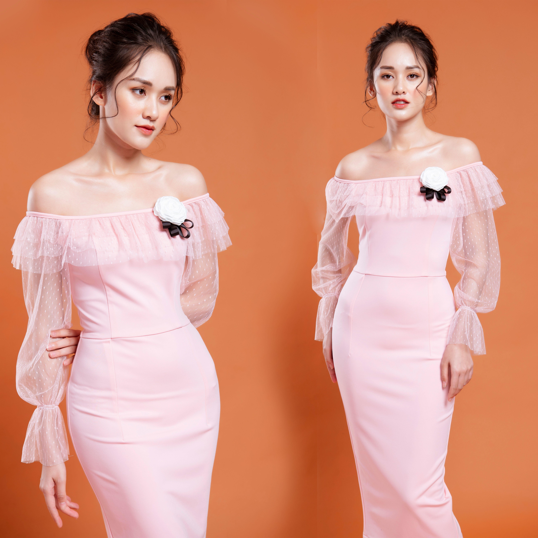 Váy, Đầm Trễ Vai Màu Hồng Nhạt Tay Ren Chấm Bi, Váy Dự Tiệc Sang Trọng - SIZE M