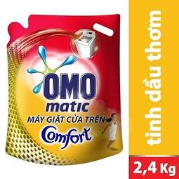 Nước giặt OMO Matic Comfort tinh dầu thơm cho máy giặt cửa trên gói 2.4kg