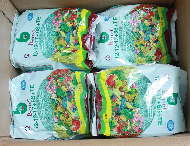 Phân bón cao cấp NPK 12-12-17+6S+TE, thương hiệu better, nguyên liệu ngoại nhập, trọng lượng 1kg