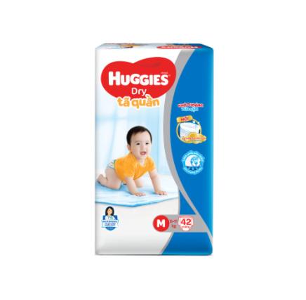 Tã quần HUGGIES DRY PANTS JUMBO M42/L38/XL34/XXL30