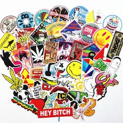 Sticker dán nón bảo hiểm, vali, laptop, xe,Sticker dán trang trí phong cách graffiti - 50 sticker