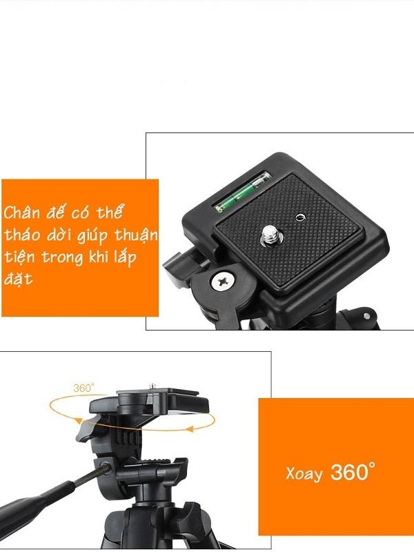 Chân giá đỡ cao cấp Tripod 3388 dùng cho Máy ảnh, Điện thoại, Camera