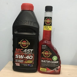 Combo Nhớt xe máy Penrite MC-4ST Full Synthetic PAO & Ester 5w40 1L & Súc béc xăng Penrite Petrol Injector Cleaner 375ml