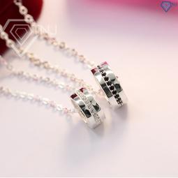 Dây chuyền đôi bạc, dây chuyền cặp bạc  đính đá đơn giản DCD0004 - Trang Sức TNJ