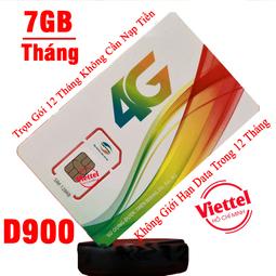 Sim 4G Viettel  dùng trọn gói 1 năm 7GB Tháng D900