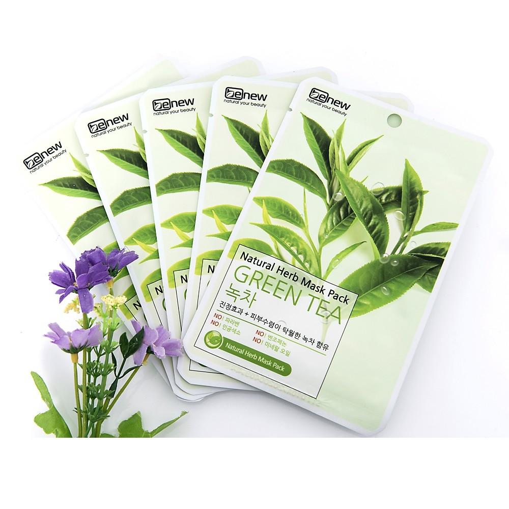 Bộ 10 miếng Đắp mặt nạ Benew Natural Herb Mask Pack - Green Tea 22ml