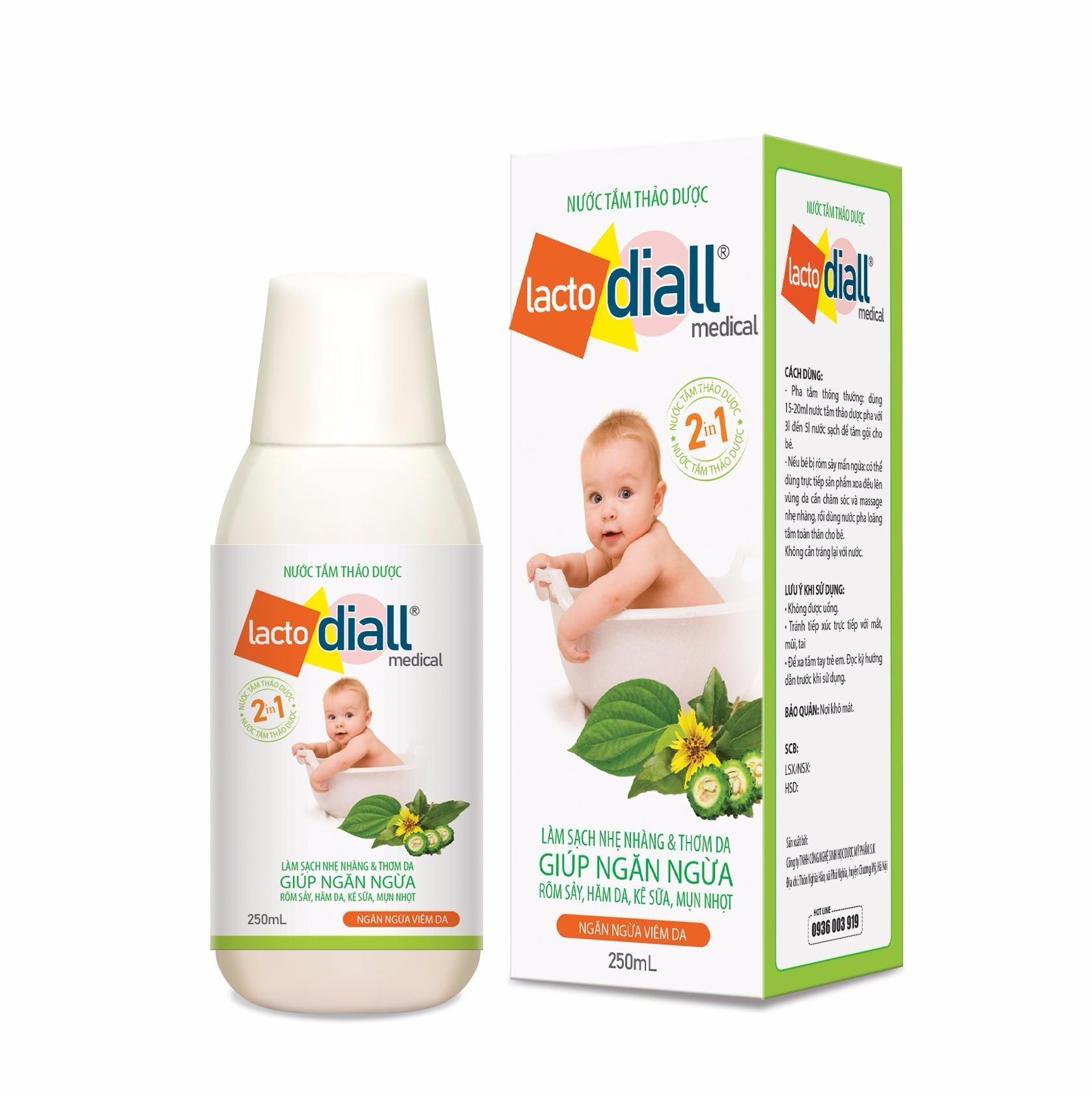 Lactodiall- nước tắm thảo dược trị rôm sảy, cứt trâu
