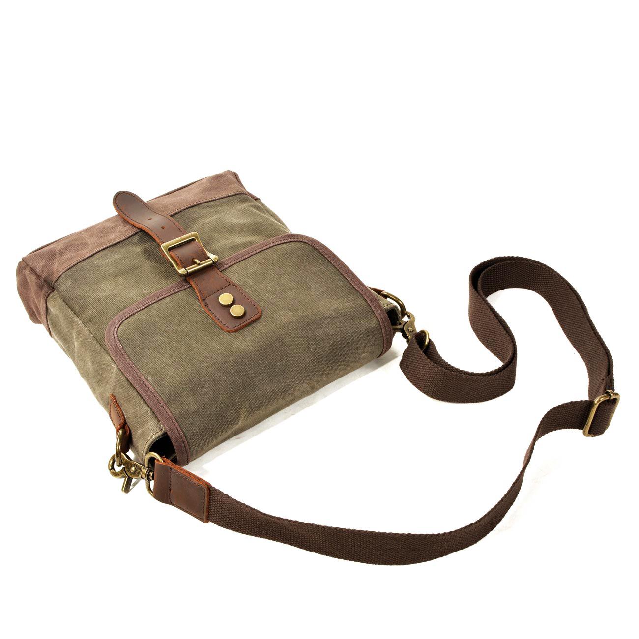 Túi đeo chéo Canvas Sáp phối da bò AT Leather DC6070 màu Xanh rêu