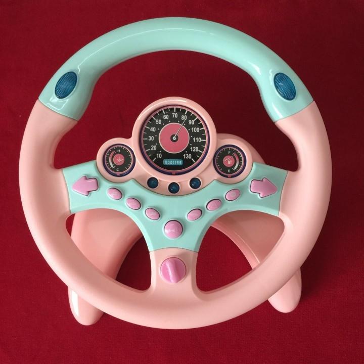 đồ chơi vô lăng ô tô trẻ em màu hồng