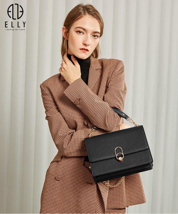 Túi nữ cao cấp da thật ELLY- ET103 đen
