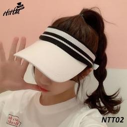 Nón lưỡi trai thể thao nửa đầu kiểu phối màu sọc thời trang - màu trắng NTT02t