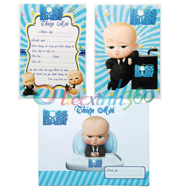 Combo 10 thiệp mời sinh nhật Boss Baby