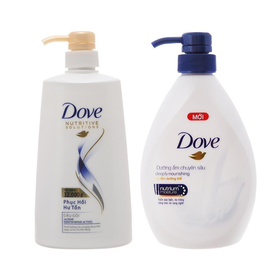 Combo dầu gội Dove phục hồi hư tổn chai 650g + Sữa tắm Dove dưỡng ẩm chuyên sâu  chai 530g