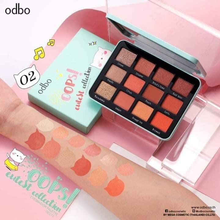 Bảng phấn mắt ánh nhũ 12 màu Odbo Oops Eyeshadow Palette Thái Lan 15g - No.1 Màu xanh