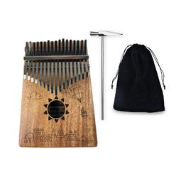Kalimba 17 phím gỗ mahagony nguyên khối phủ sơn bóng cao cấp SUNFLOWER KL000017- Tặng túi nhung, đầy đủ phụ kiện kèm theo