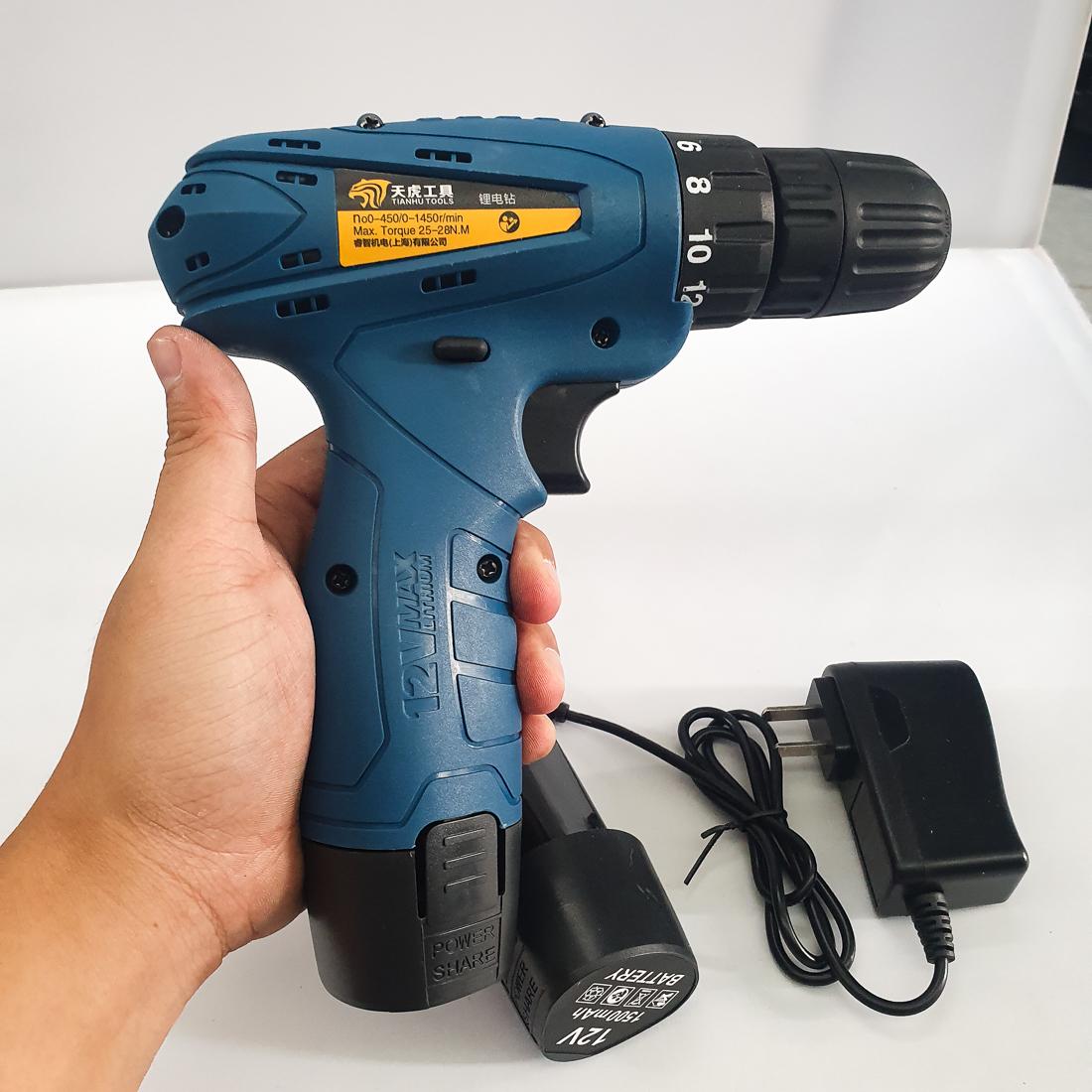 Máy Khoan Dùng Pin Tianhu Tools Máy Khoan Máy Khoan Bắn Vit Máy Khoan Cầm Tay Máy Khoan Sửa Chữa Vặn Vít Có Đảo Chiều (Kèm Pin Dự Phòng) - Màu xanh dương 12V
