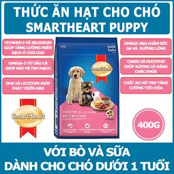 [THÁI LAN] SmartHeart Puppy Bò Và Sữa - Thức ăn hạt cho Chó - Gói 400g
