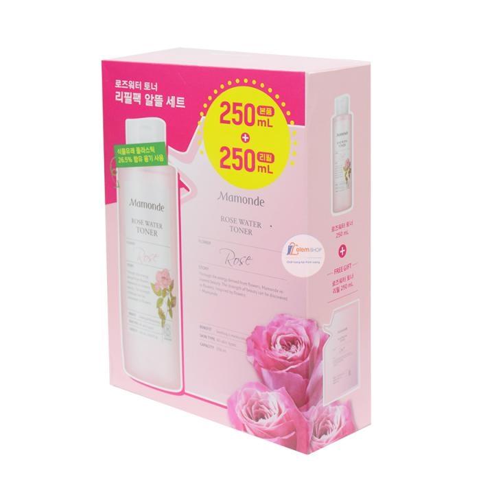 Set nước hoa hồng Mamonde Rose Water Toner Hàn Quốc (250ml+250ml)