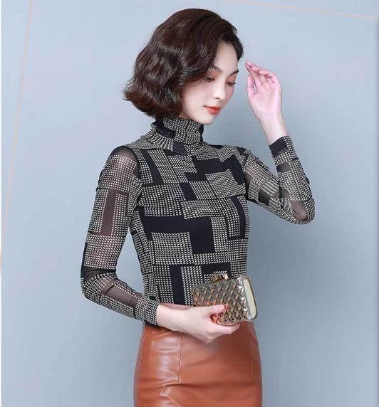 Áo giữ nhiệt nữ thu đông ren 2 lớp 3D hình khối lót nỉ cổ lọ dài tay ấm áp, thời trang (đủ size từ 42-75kg) AGNU06
