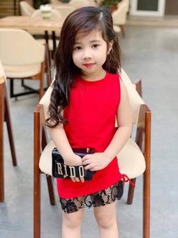 Đầm body chất thun cotton 4 chiều phối ren cho bé gái từ 14kg - 40kg
