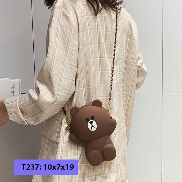 Túi đeo chéo con gấu hàng l1 2 dây
