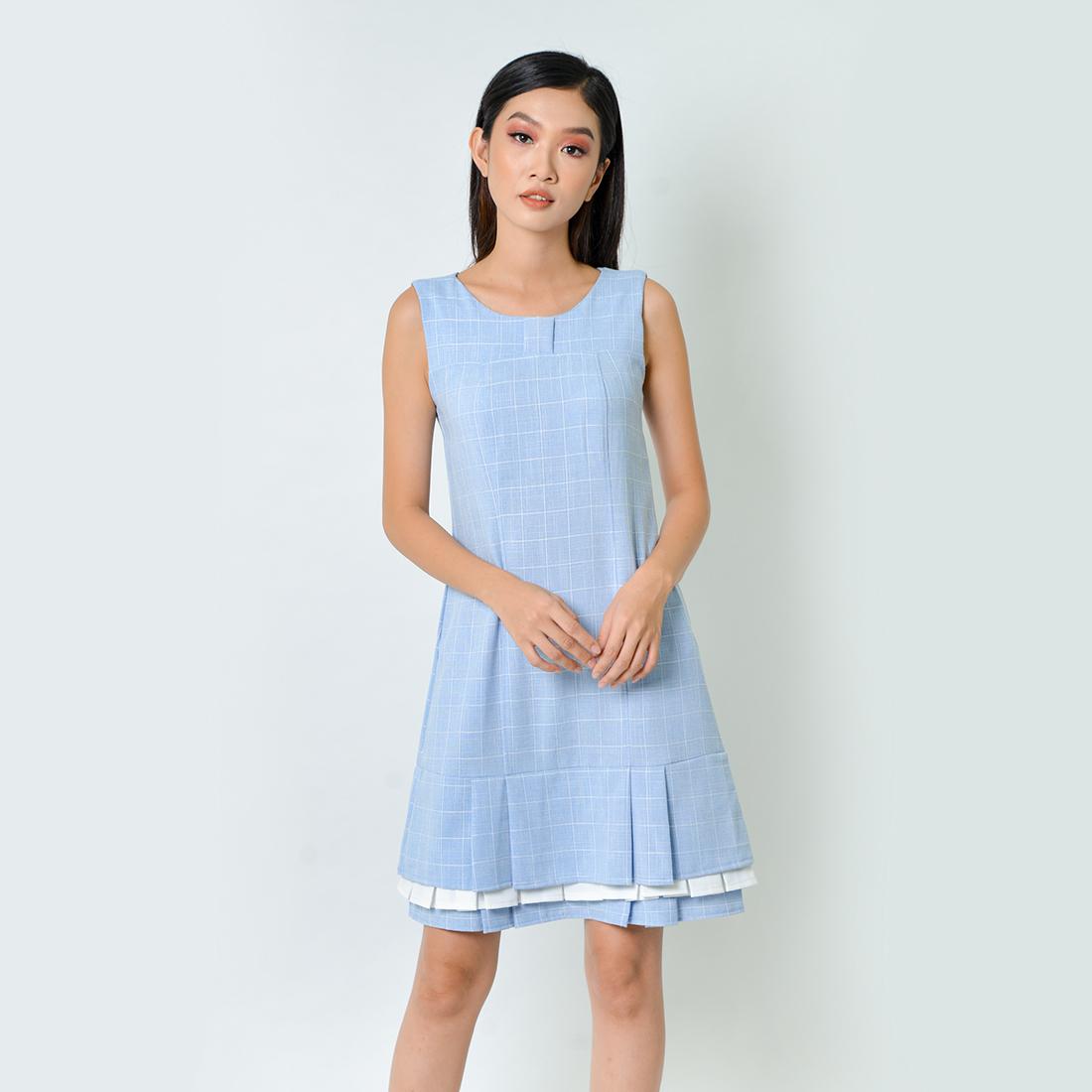 Đầm Suông Thời Trang Eden Caro Xếp Li - D362