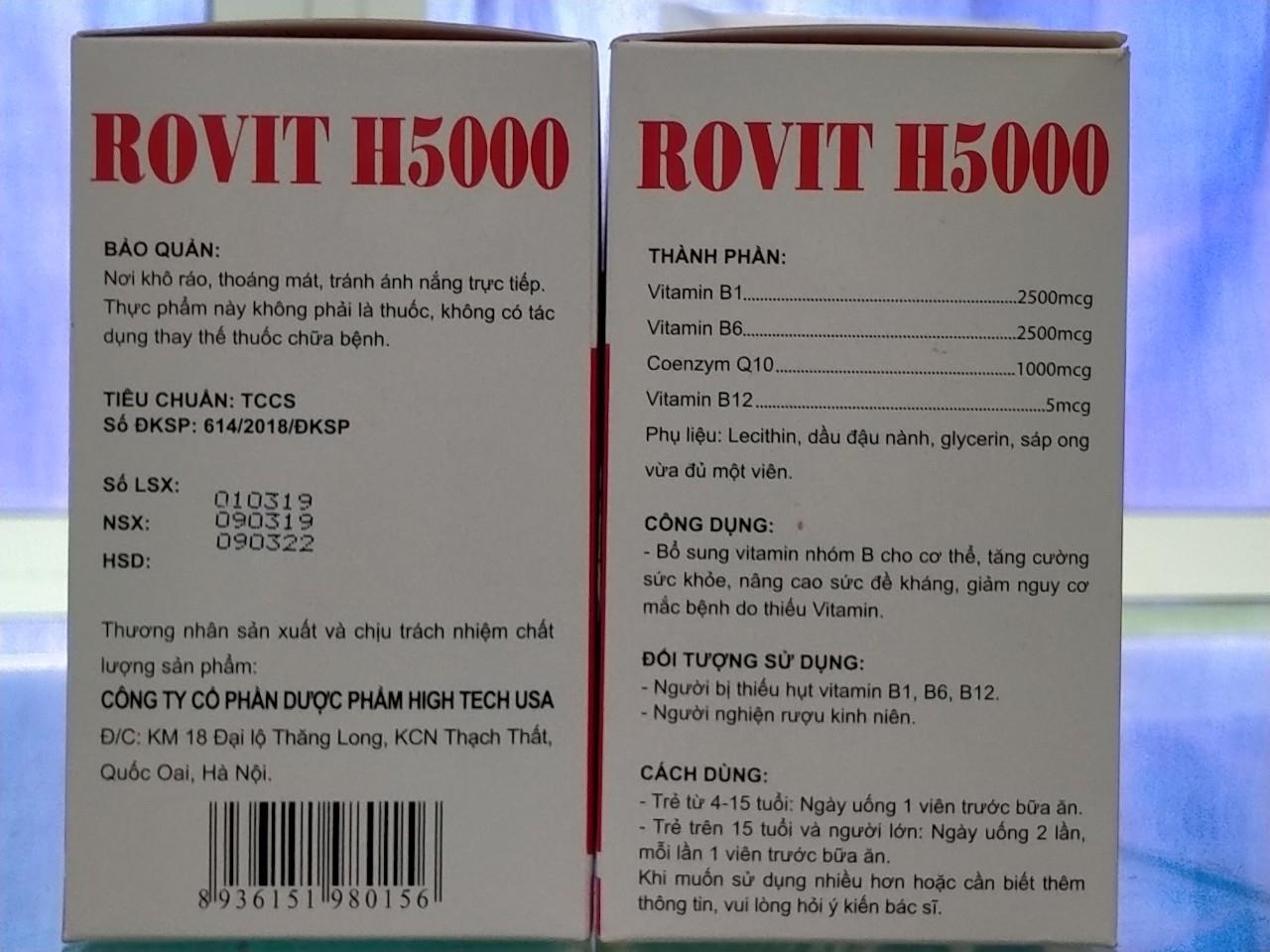 Bổ sung vitamin nhóm B cho cơ thể -  Rovit H5000 hộp 10 vỉ* 10 viên nang mềm