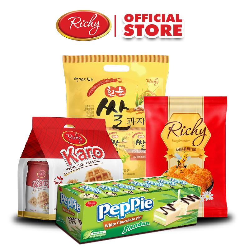 Combo Bánh tươi Karo Chà Bông, Bánh Peppie khay 360g, Bánh gạo Hàn quốc gói nhỏ và Bánh gạo mật ong108g