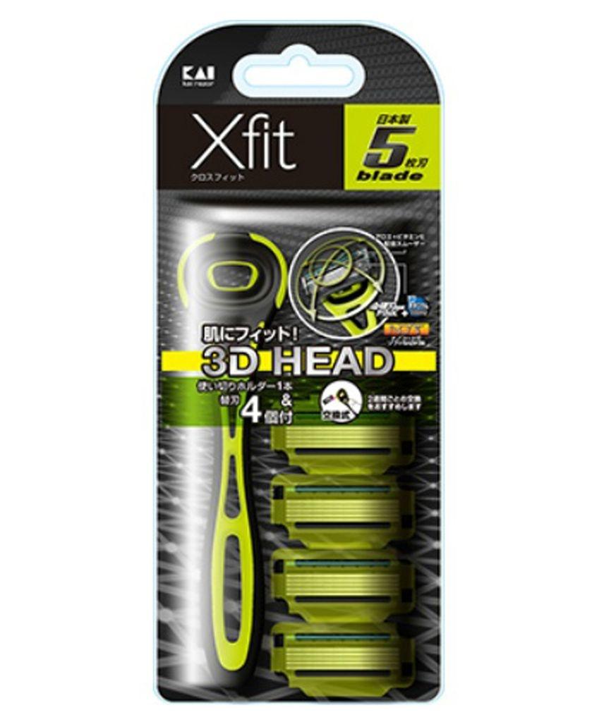 Set dao cạo 5 lưỡi kép Xfit KAI (1 thân, 4 lưỡi thay thế) - hộp dài Hàng Nhật