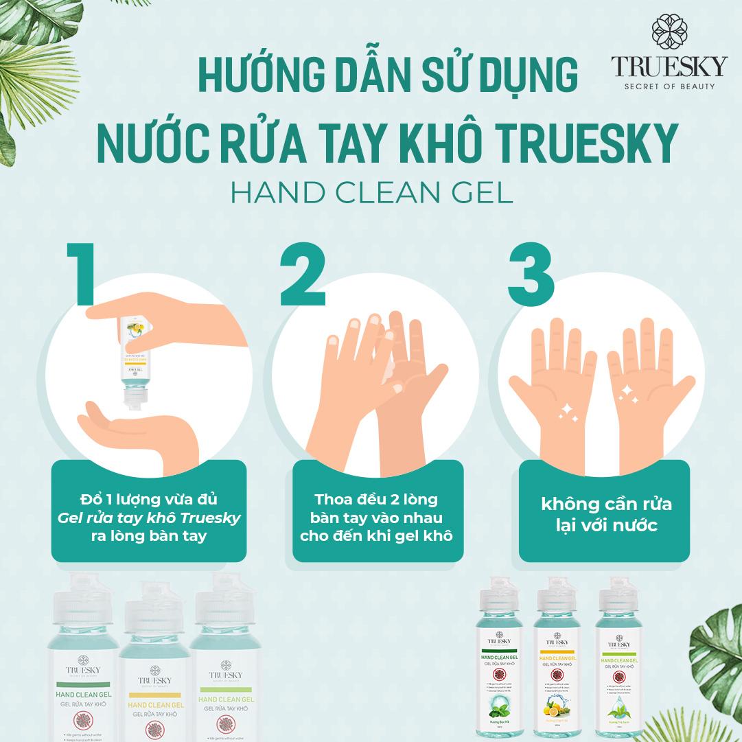 Bộ 3 chai nước rửa tay khô sát khuẩn Truesky 100ml gồm 3 hương (hương chanh sả & hương bạc hà & hương trà xanh)
