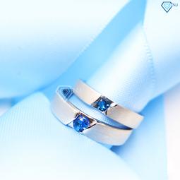 Nhẫn đôi bạc,nhẫn cặp bạc đính đá xanh dương đẹp khắc tên theo yêu cầu ND0095 - Trang Sức TNJ