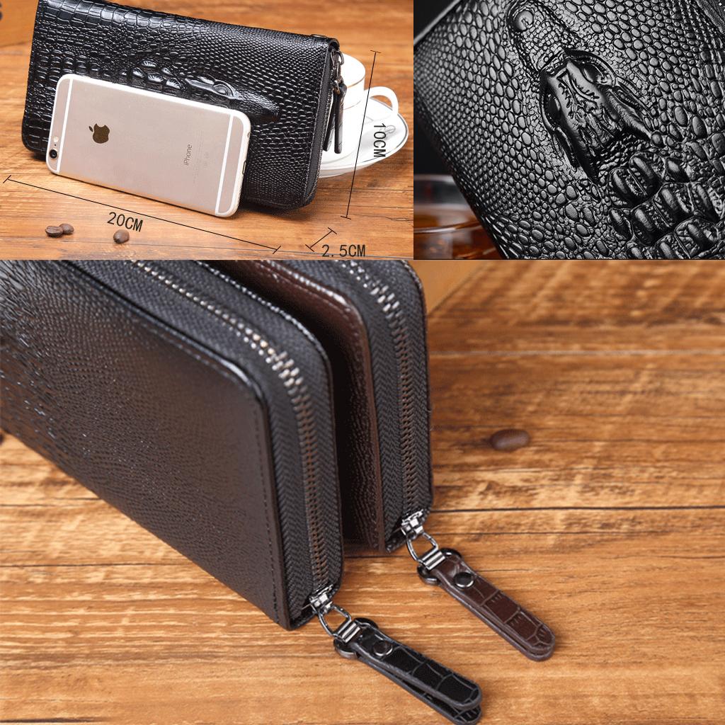 Ví dài cầm tay (Clutch) dập vân cá sấu phong cách thời trang, đựng điện thoại, tiền giấy tờ tùy thân, các loại thẻ ATM