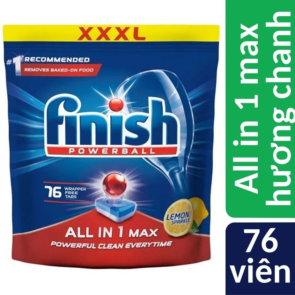 Túi 76 viên rửa bát Finish All In 1 Max Dishwasher Tablets Lemon Sparkle QT04589 - hương chanh, muối tích hợp bảo vệ bộ lọc khỏi cặn vôi