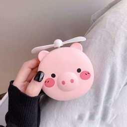 Gương mini cầm tay Heo hồng dễ thương 3 in 1 Đèn - Quạt - Gương