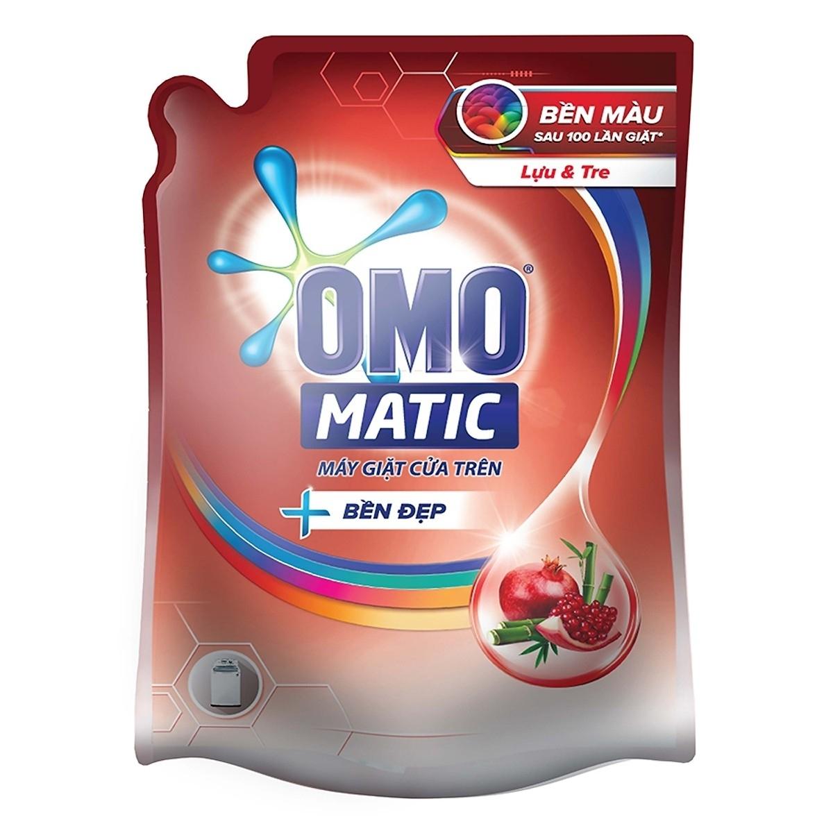 Nước giặt OMO matic bền đẹp của trên túi 2.3 kg