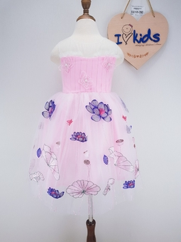 930198-ZM5- Váy lưới công chúa, sát nách, thêu hoa sen, hồng, size bé 3t-8t.Vải ren là loại vải mềm mại, dày dặn nhưng không nóng