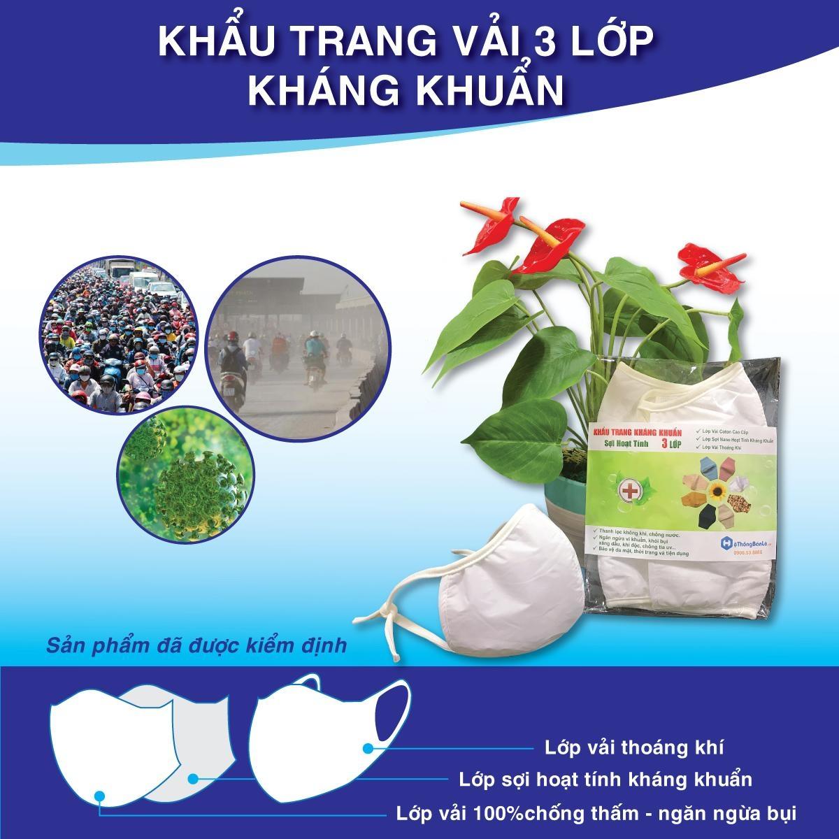 combo 20 cái khẩu trang vải loại 03 lớp kháng khuẩn, kháng nước tái sử dụng đến 30 lần
