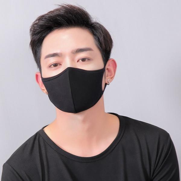 Khẩu trang đen trơn Hàn Quốc - Khẩu trang đen trơn vải mềm đơn giản kiểu Hàn Quốc