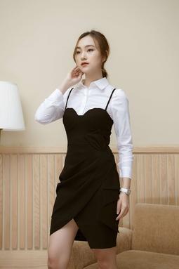 Set Áo sơ mi trắng tay dài + váy hai dây đen phối nơ eo size L