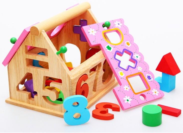 Đồ chơi thông minh - Mô hình ngôi nhà thả khối thả số bằng gỗ