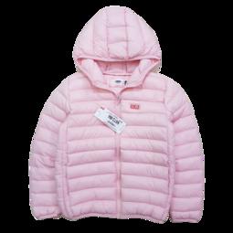 N872-M4- Áo phao bé gái, dài tay, kéo khóa kèm mũ, in chữ, lòng tôm,size nhỡ 9-12,lớp bông bên trong là sợi tổng hợp, hoặc lông tự nhiên.