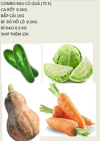 Combo rau củ quả ( Cà rốt 0.5 kg + Bắp cải 1 kg + Bí đỏ hồ lô 0.5 kg + Bí đao 0.5 kg)