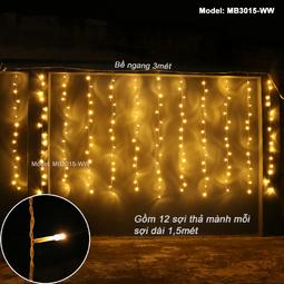 Đèn Mành Rèm 3 m*1.5m Dây điện màu Trắng - Không chớp nháy  - Thế Giới Đèn Nháy